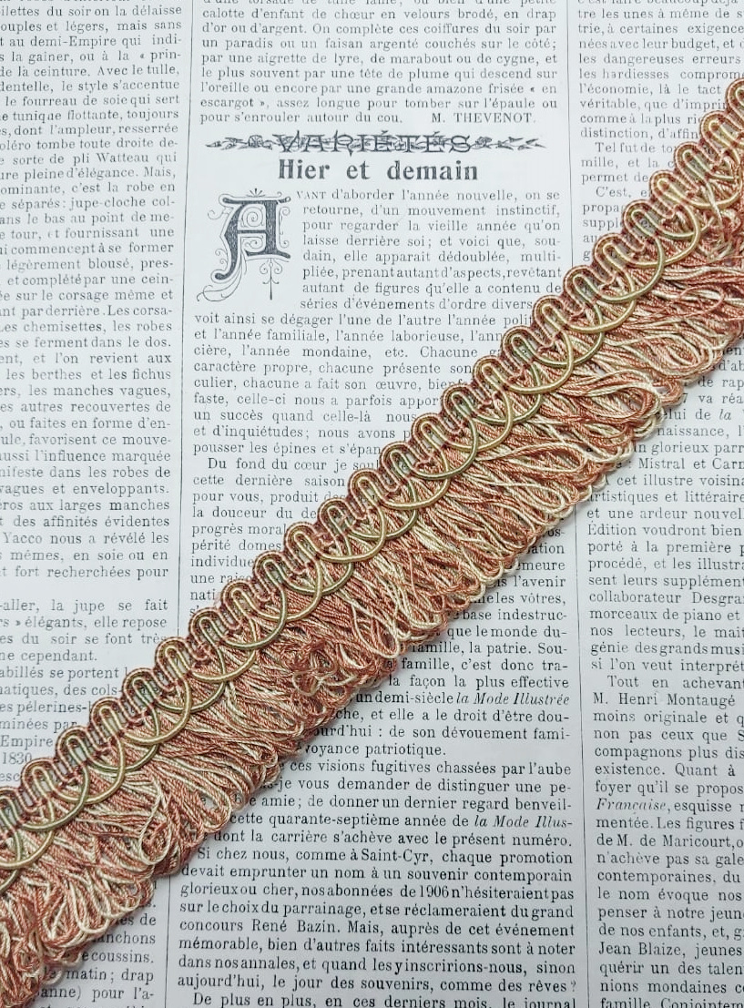 Vintage Creme/Roze Franjeband 1 stuk