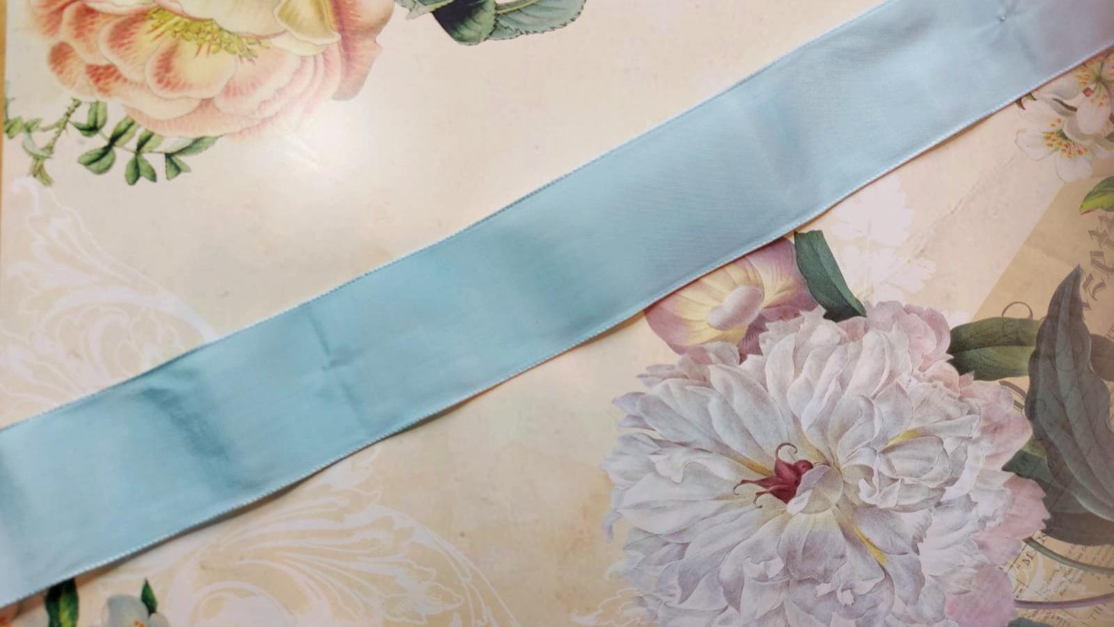 Antique Taffeta Blue Pink diff. widths