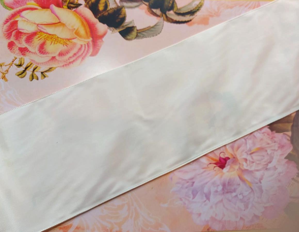 Antique Taffeta White Pink diff. widths