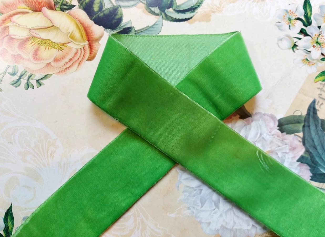 Antiek Fluweelband Groen