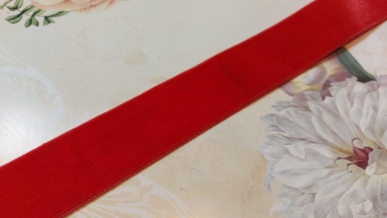Antiek Fluweelband Rood/Roze