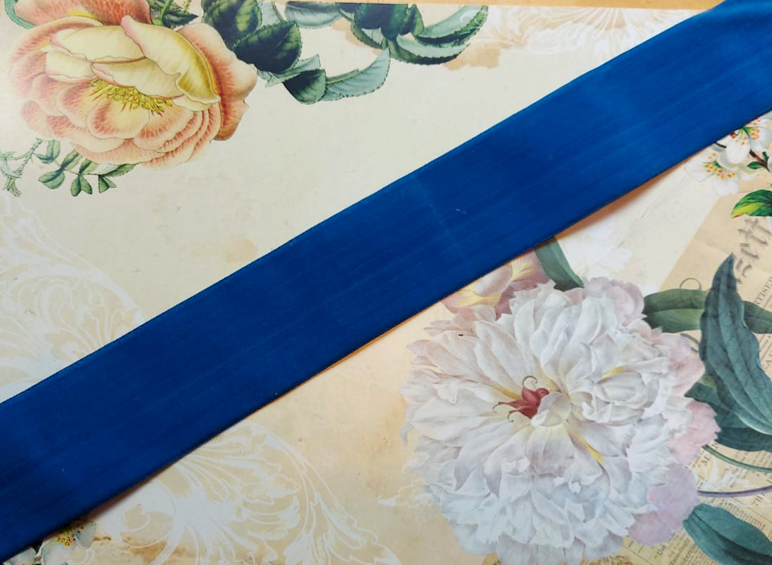 Antique Velvet trim Blue 1 length