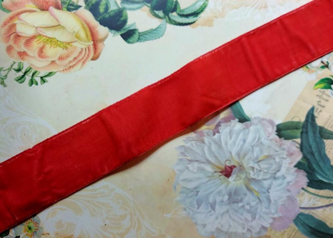 Antique Velvet trim Coral Pink 1 length