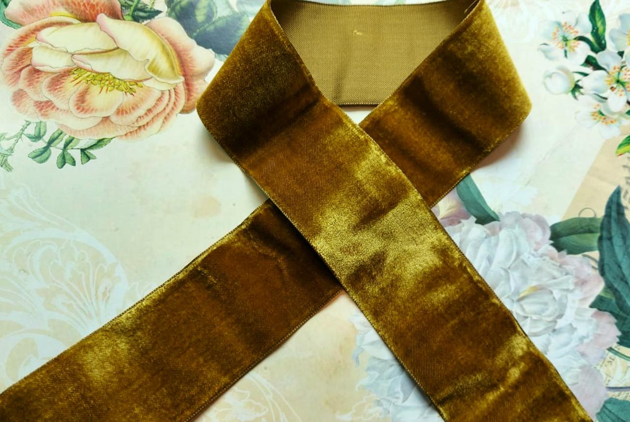 Antiek Fluweelband Goud/Groen versch. breedtes