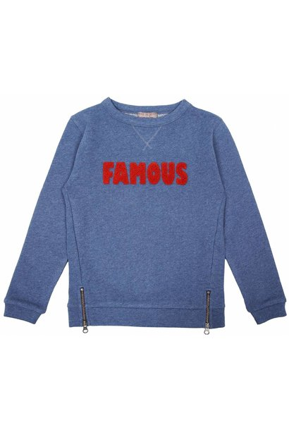 Sweatshirt Zipped Blue Chine