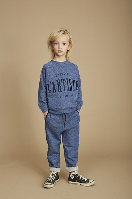 Sweatshirt Silas Netted Blue-2