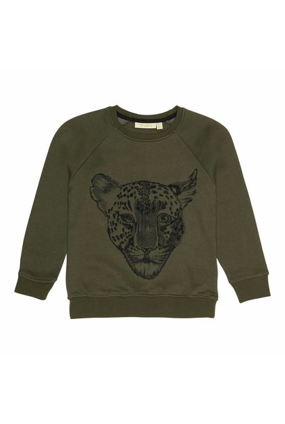 Sweatshirt Burnt Olive, Leo Emb