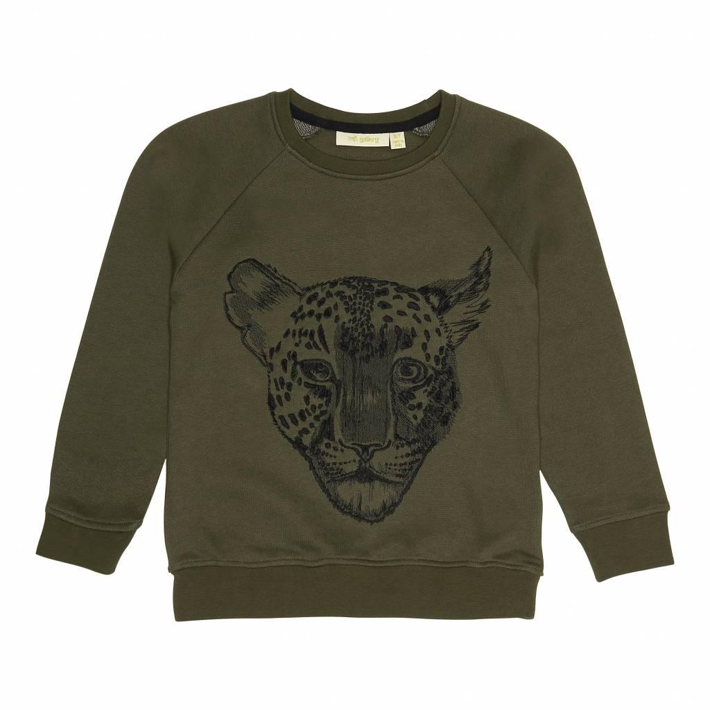 Sweatshirt Burnt Olive, Leo Emb-1