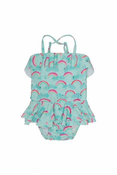 Swimsuit Shirley, Blue Tint, AOP Rainbow