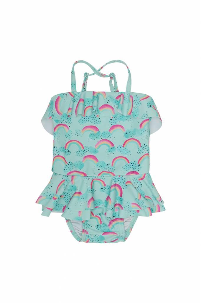 Zwempak Shirley, Blue Tint, AOP Rainbow-1