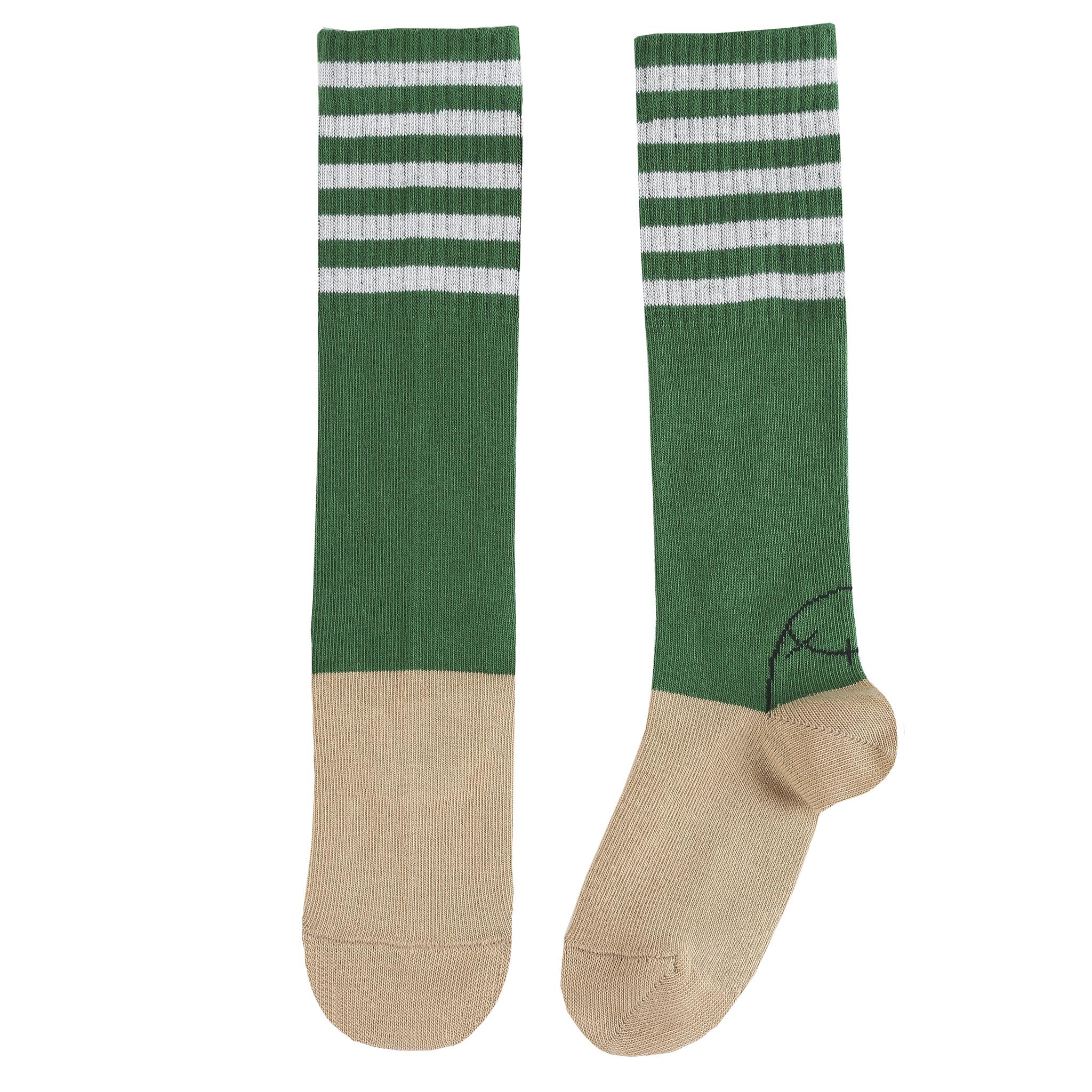 Socks Hautes Rayees Vert-1