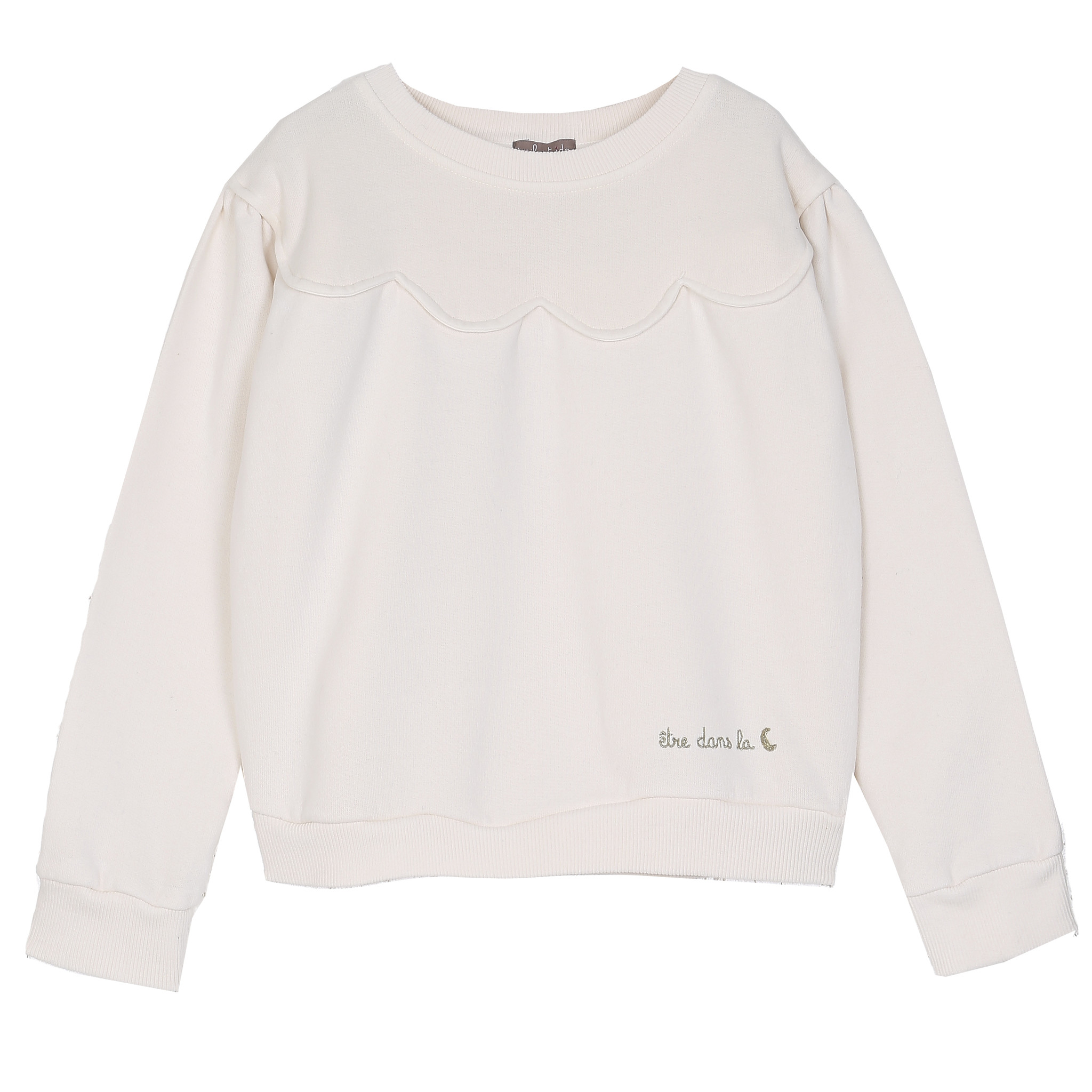 Sweatshirt Scalopped Ecru-1