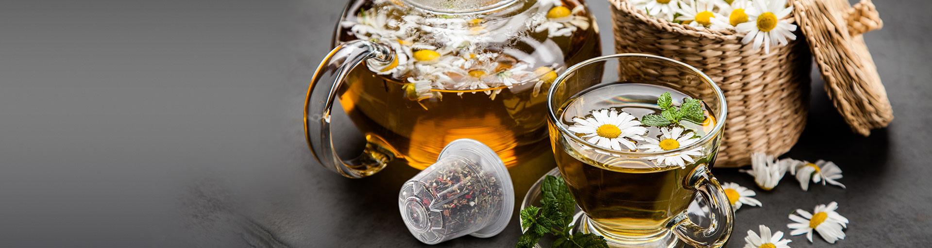 Thés, tisanes et infusions en capsules ou dosettes pour votre machine espresso: bien-être, détente, camomille, thé vert, thé noir, thé citron, thé menthe, tisane aux fruits des bois ou au gingembre et citron