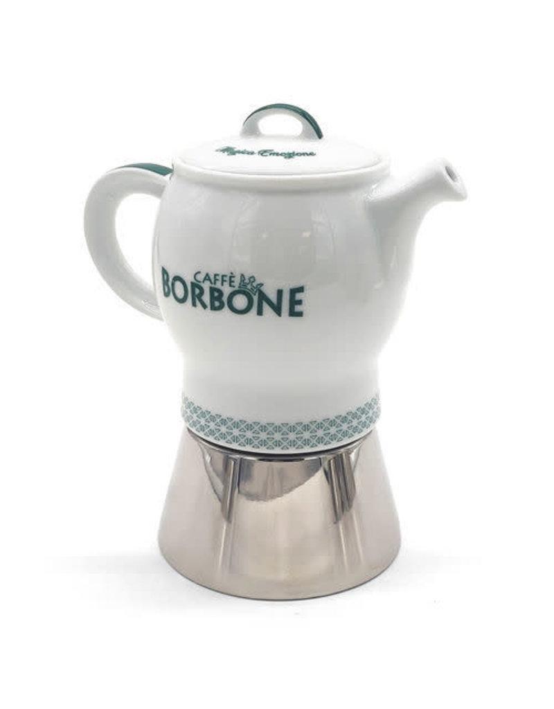Caffè Borbone CAFETIÈRE MOKA VERTE - 4 TASSES BORBONE + 1 Kg MOULU OFFERT
