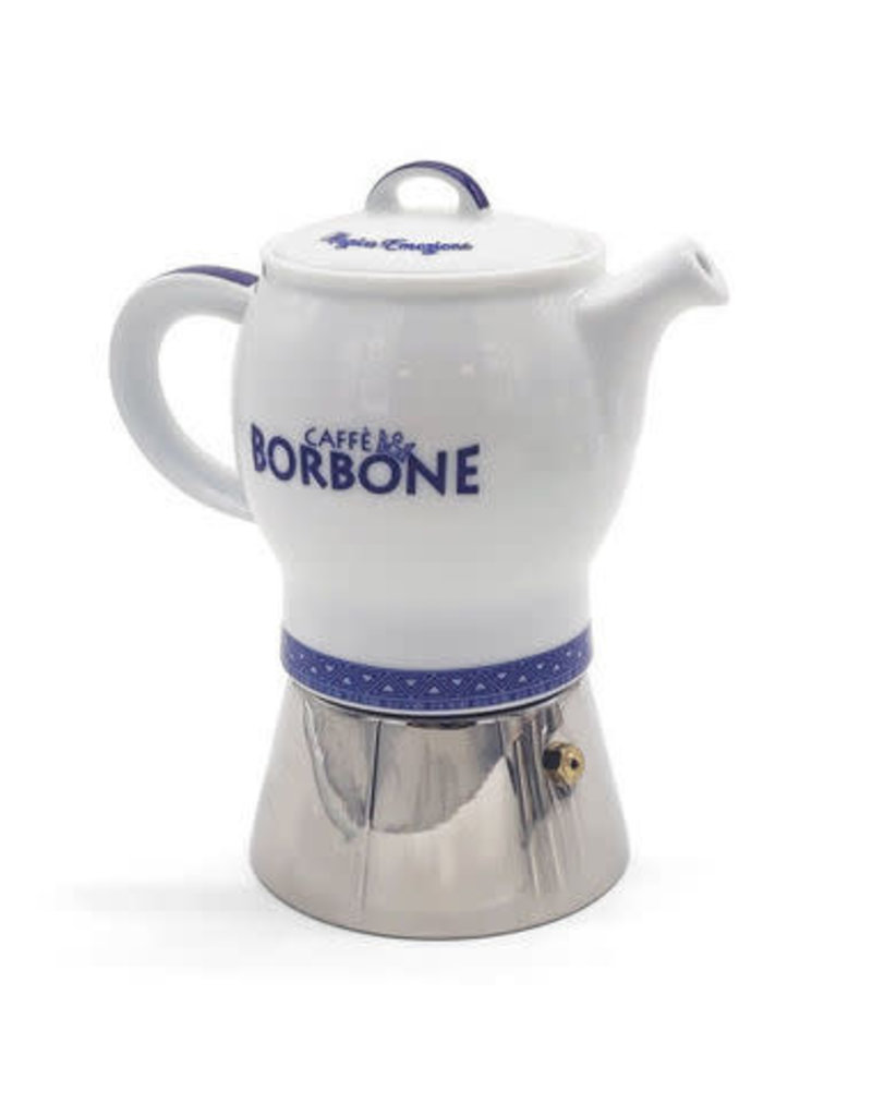 Caffè Borbone CAFETIÈRE MOKA BLEUE - 4 TASSES BORBONE + 1 Kg MOULU OFFERT
