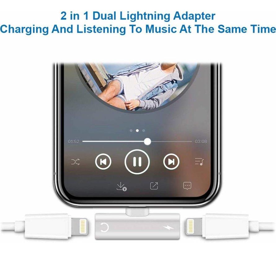 ShieldCase iPhone Lightning splitter adapter 2-in-1 audio en opladen (zilver)