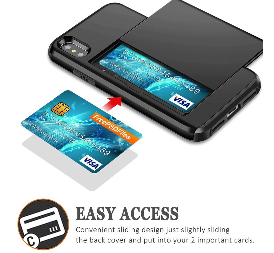 ShieldCase Kaarthouder case met slide iPhone  X / Xs (zwart)