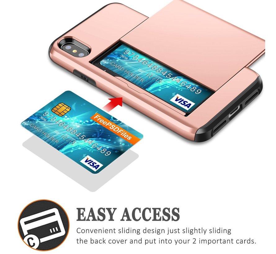 ShieldCase Kaarthouder case met slide iPhone  X / Xs (rosé goud)