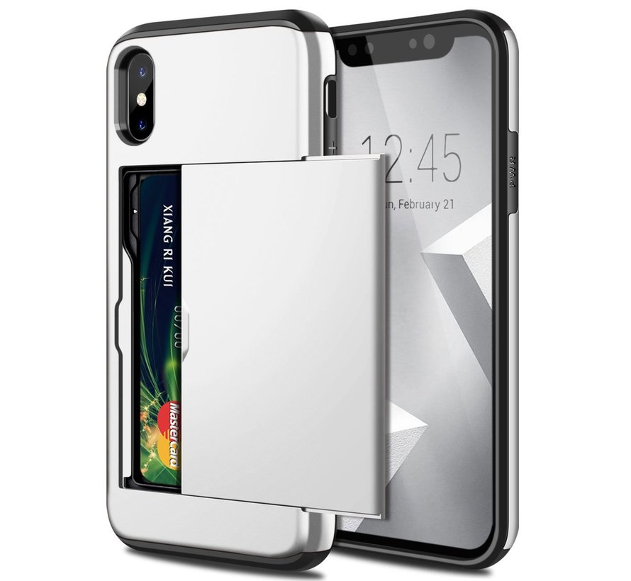 ShieldCase Kaarthouder case met slide iPhone  X / Xs (zilver)