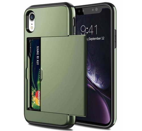 ShieldCase® ShieldCase Kaarthouder case met slide iPhone Xr  (groen)