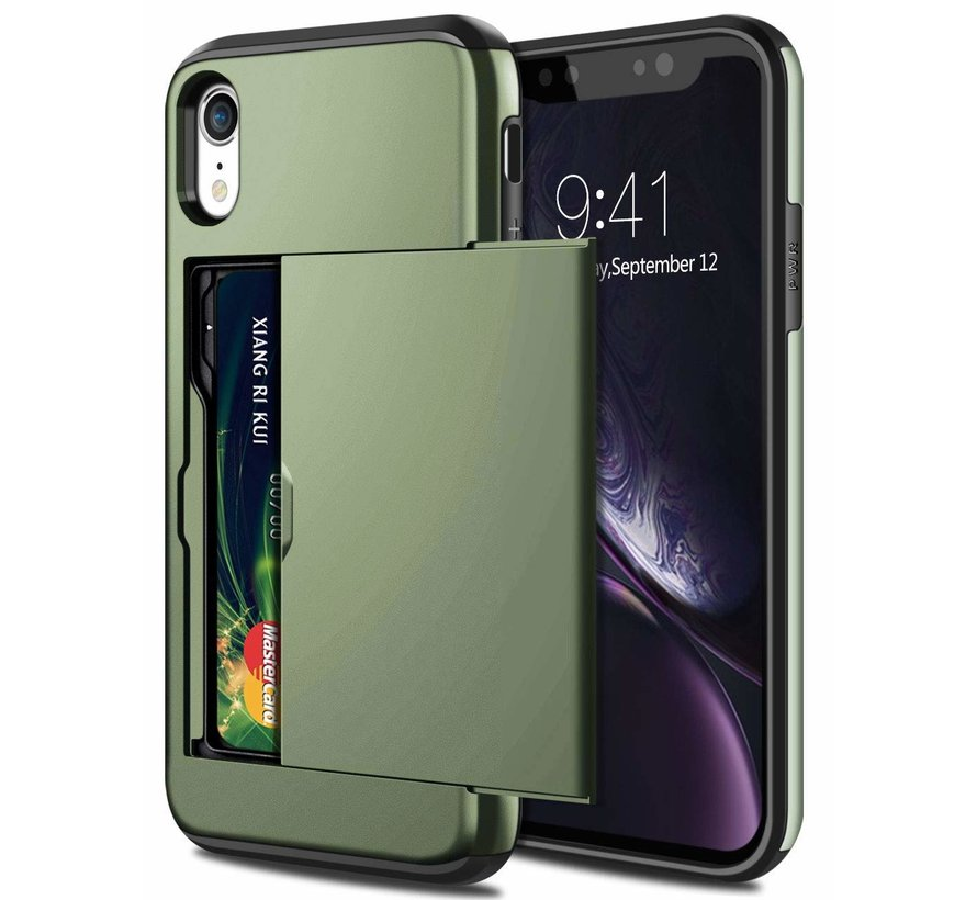 ShieldCase Kaarthouder case met slide iPhone Xr  (groen)