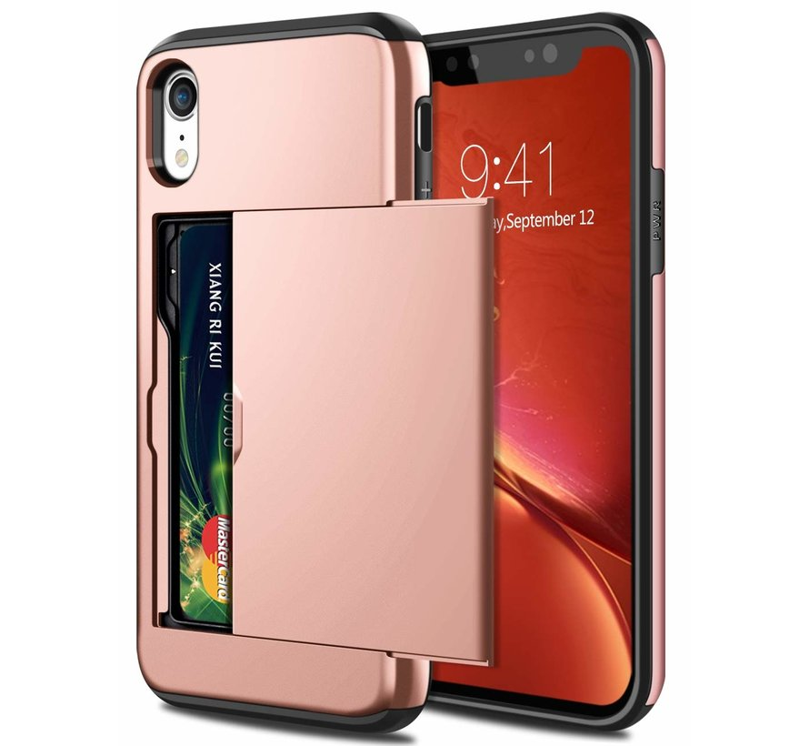 ShieldCase Kaarthouder case met slide iPhone Xr (rosé goud)