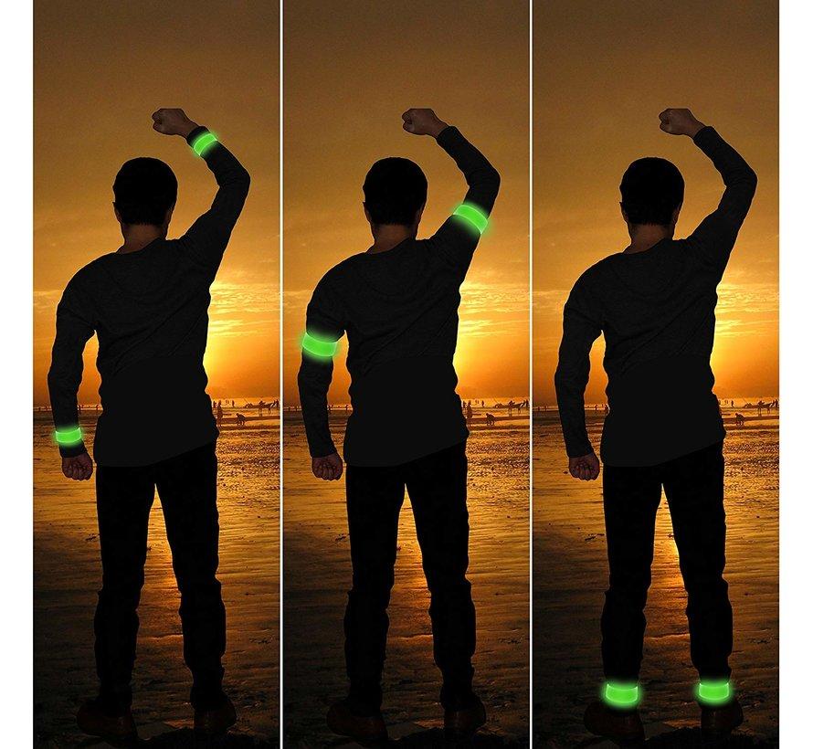 Reflecterende groene LED-strip armband