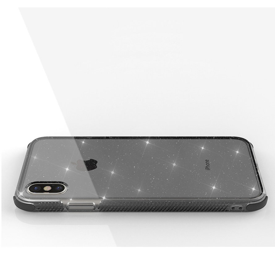Glitter Shock case iPhone X / Xs (zwart)