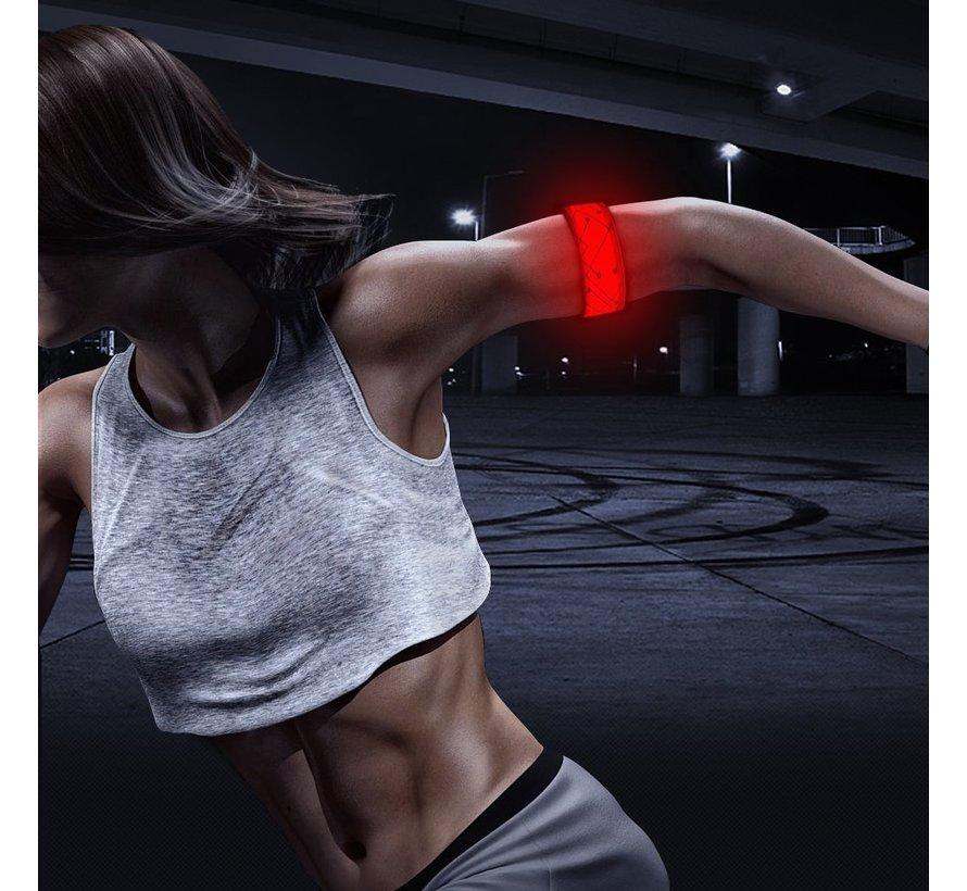 Reflecterende rode LED-strip armband met patronen