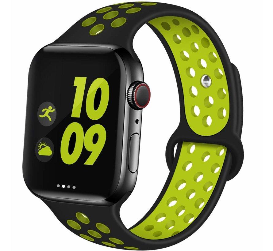 Apple Watch silicone sport+ band (zwart/geel)