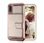 ShieldCase iPhone Xr wallet case met spiegel (goud)