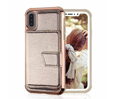 ShieldCase® ShieldCase iPhone Xr wallet case met spiegel (goud)