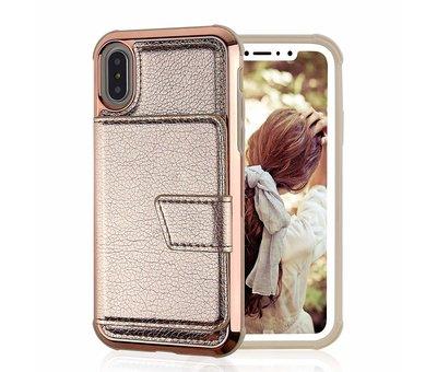 ShieldCase ShieldCase Wallet met spiegel Case  iPhone Xr (Rose gold)