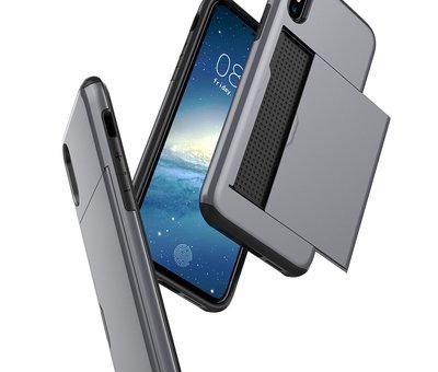 ShieldCase® ShieldCase Kaarthouder case met slide iPhone Xr (zilver)