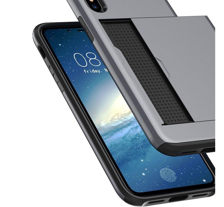 ShieldCase Kaarthouder case met slide iPhone Xr (zilver)