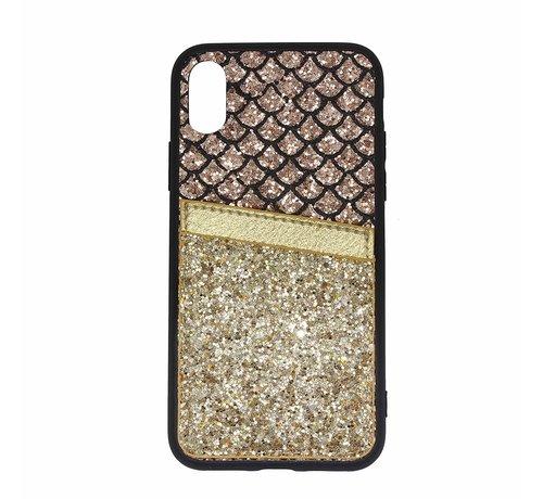 ShieldCase Shieldcase Kaarthouder glitter goude case iPhone X / Xs