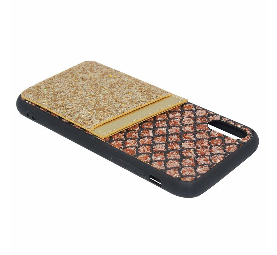 Shieldcase Kaarthouder glitter goude case iPhone X / Xs