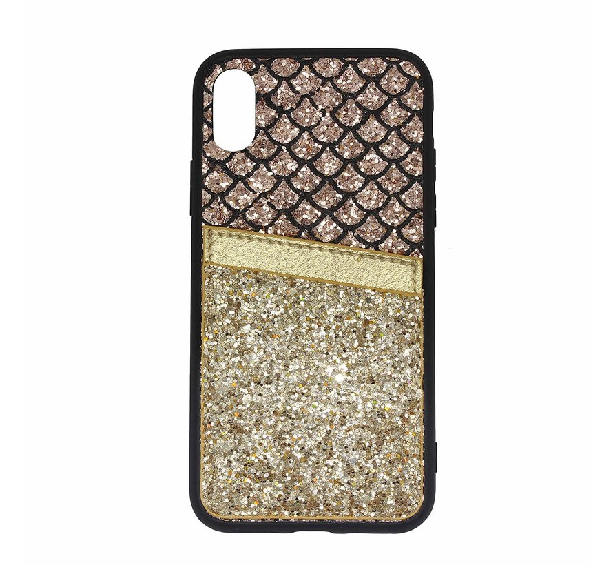 Shieldcase Kaarthouder glitter goude case iPhone Xr