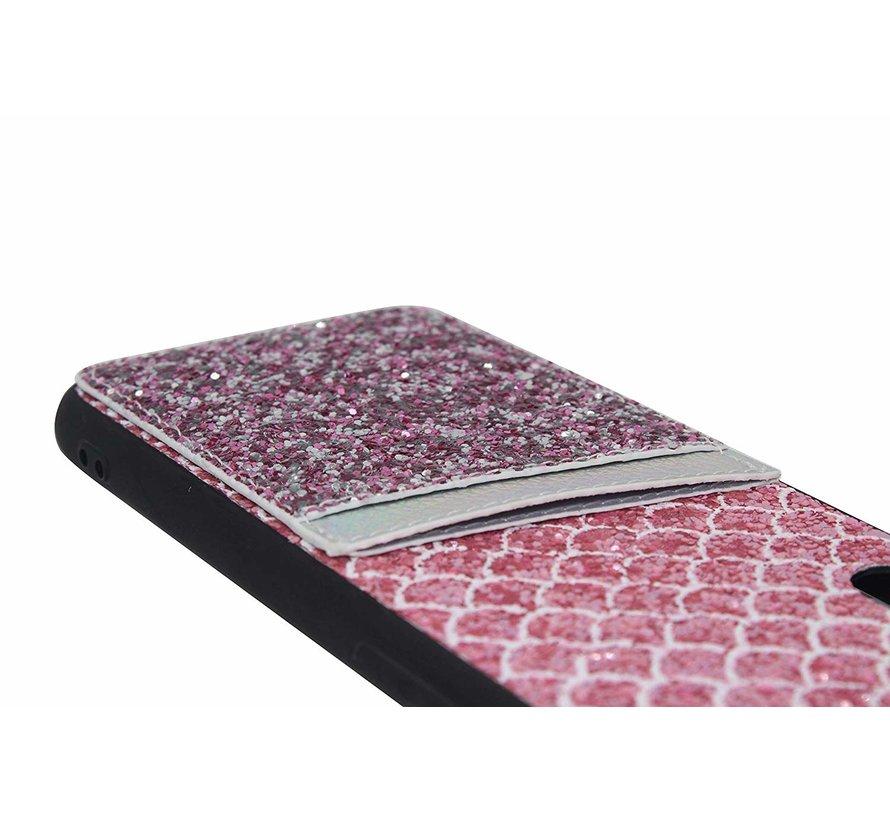 Shieldcase Kaarthouder glitter roze  case iPhone Xr