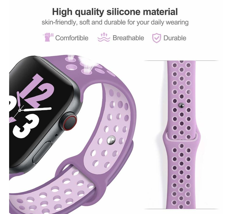 Apple Watch silicone sport+ band (lichtpaars)