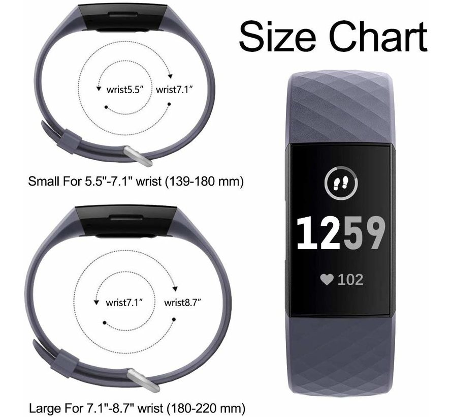 Fitbit Charge 3 silicone band (grijsblauw)