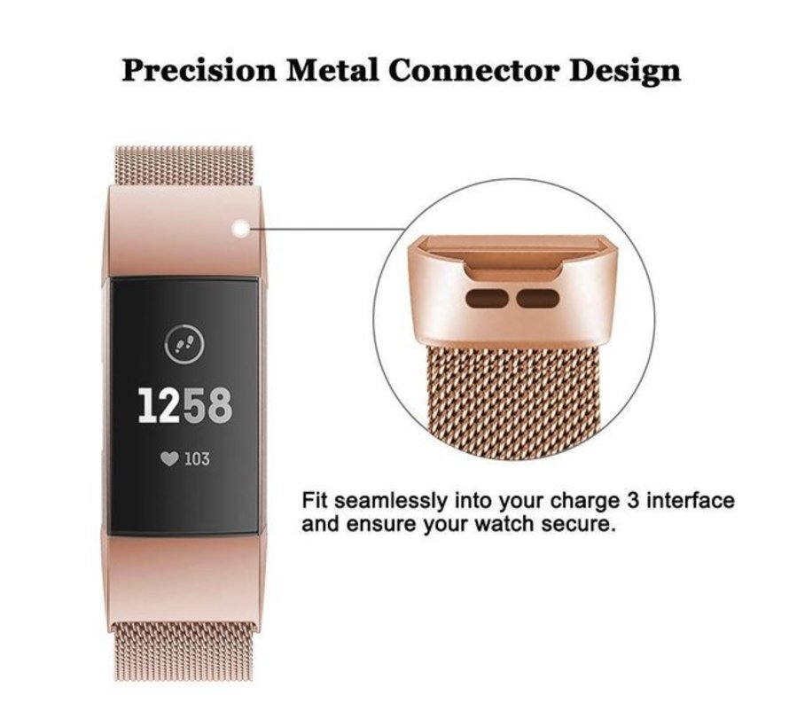 Fitbit Charge 3 Milanese band (rosé goud)