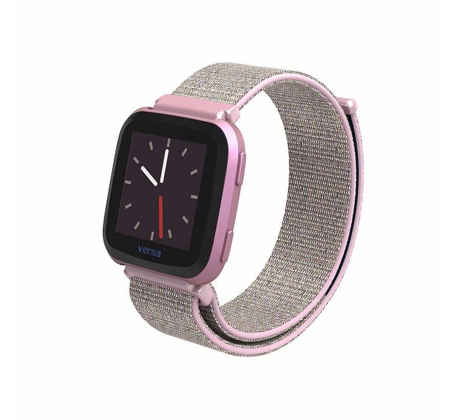 Fitbit Versa nylon bandje (roze)