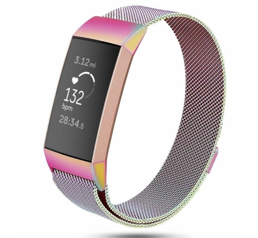 Fitbit Charge 3 Milanese band (regenboog)