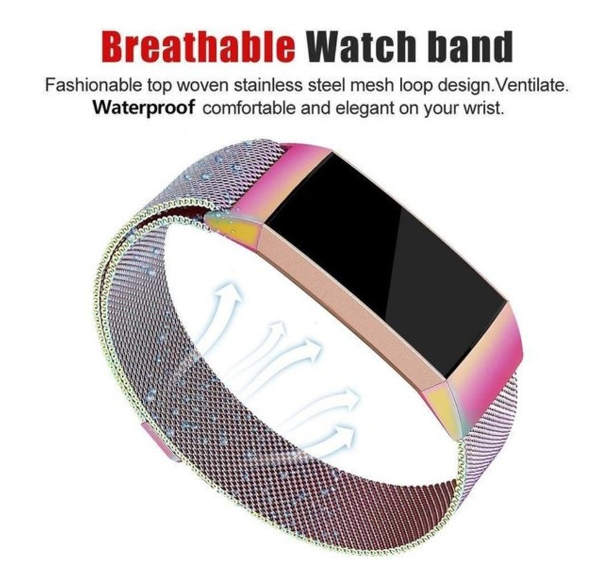 Fitbit Charge 3 Milanese band (regenboog)