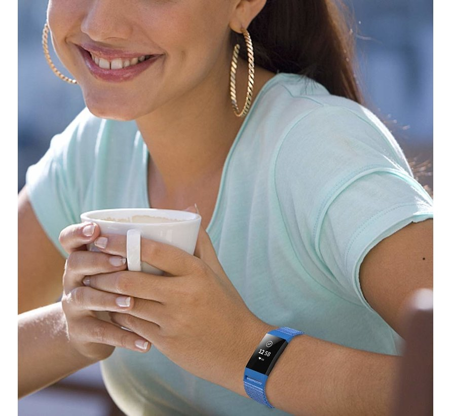 Fitbit Charge 3 nylon bandje (blauw)