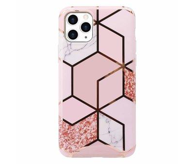 ShieldCase ShieldCase Marmeren patroon iPhone 11 Pro Max  hoesje (roze)