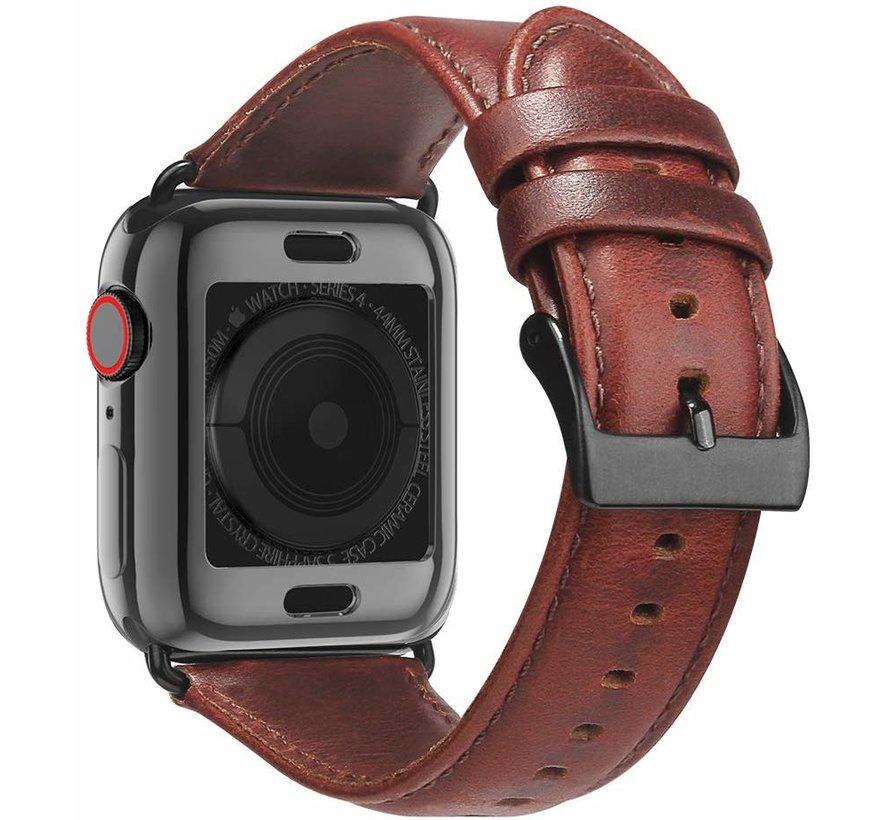 Apple Watch leren band (rood-bruin)