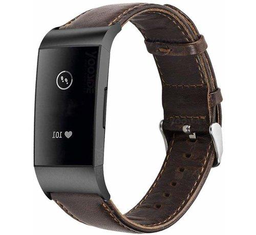 Fitbit Charge 3 leren bandje (donkerbruin)