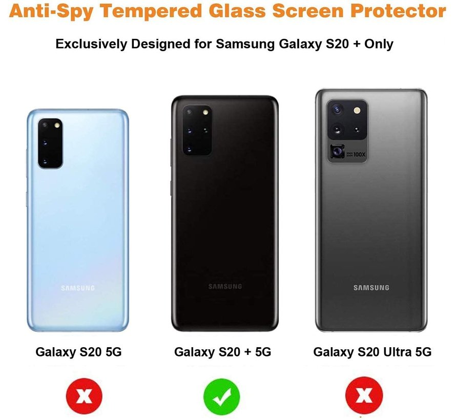ShieldCase Tempered Glass Privacy  Screenprotector Samsung Galaxy S20 Plus